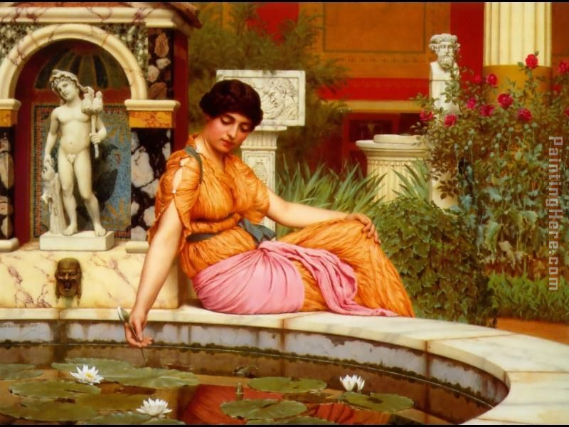 John William Godward A Lily Pond Art Painting