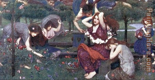 Flora and the Zephyrs painting - John William Waterhouse Flora and the Zephyrs art painting