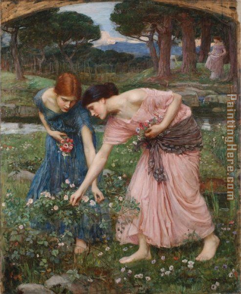 Gather ye rosebuds while ye may I painting - John William Waterhouse Gather ye rosebuds while ye may I art painting