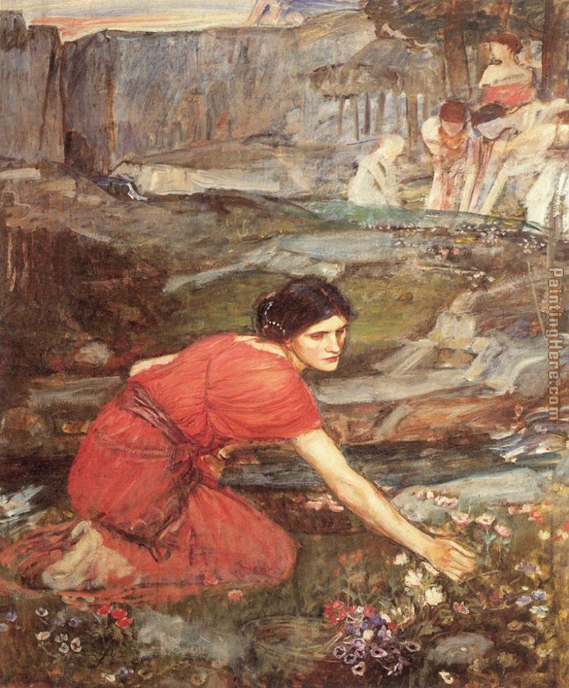Maidens picking Flowers by a Stream Study painting - John William Waterhouse Maidens picking Flowers by a Stream Study art painting