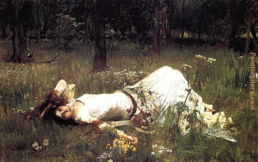 Ophelia painting - John William Waterhouse Ophelia art painting