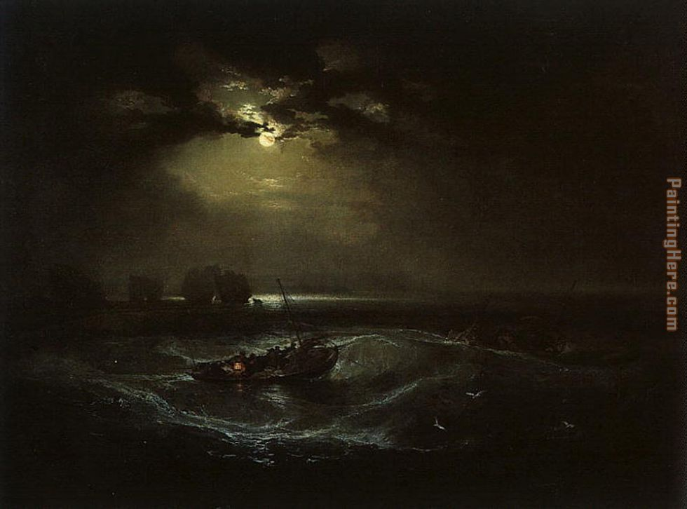 Fishermen at Sea painting - Joseph Mallord William Turner Fishermen at Sea art painting