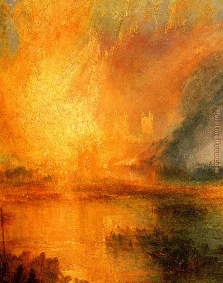The Burning of the Houses of Parliament detail painting - Joseph Mallord William Turner The Burning of the Houses of Parliament detail art painting