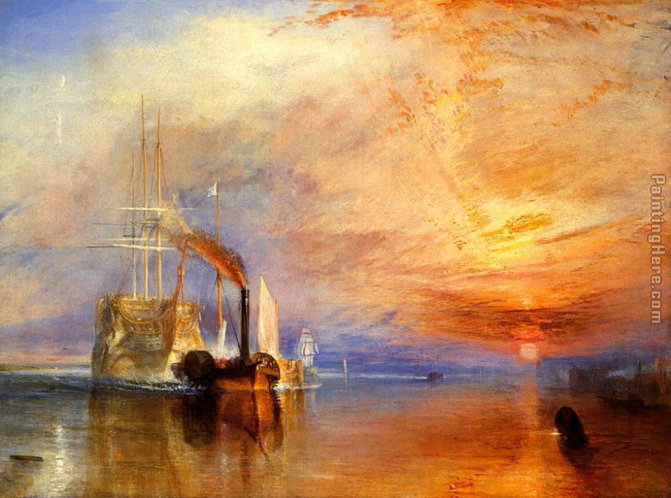 The fighting Temeraire tugged to her last berth to be broken up painting - Joseph Mallord William Turner The fighting Temeraire tugged to her last berth to be broken up art painting