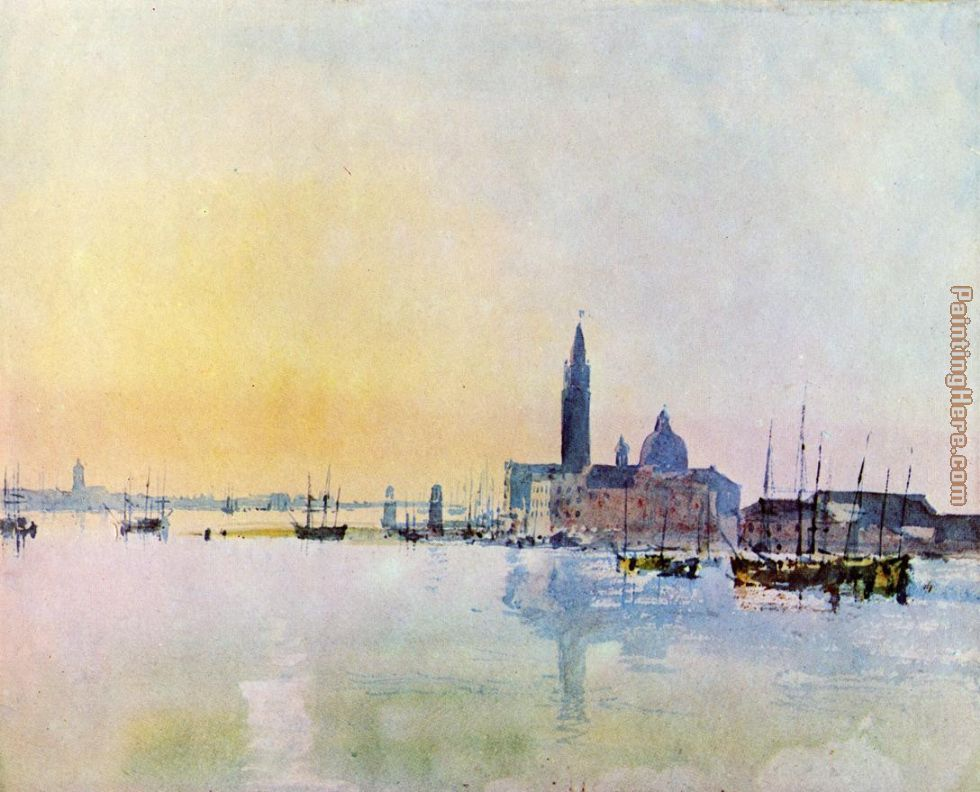 Venice San Guirgio from the Dogana Sunrise painting - Joseph Mallord William Turner Venice San Guirgio from the Dogana Sunrise art painting