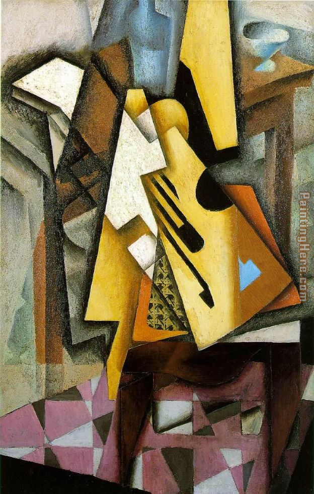 Guitar on a Chair painting - Juan Gris Guitar on a Chair art painting