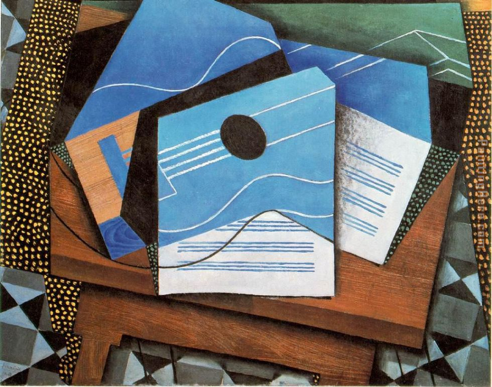 juan gris guitar on a table painting anysize 50 off guitar on a table painting for sale. Black Bedroom Furniture Sets. Home Design Ideas