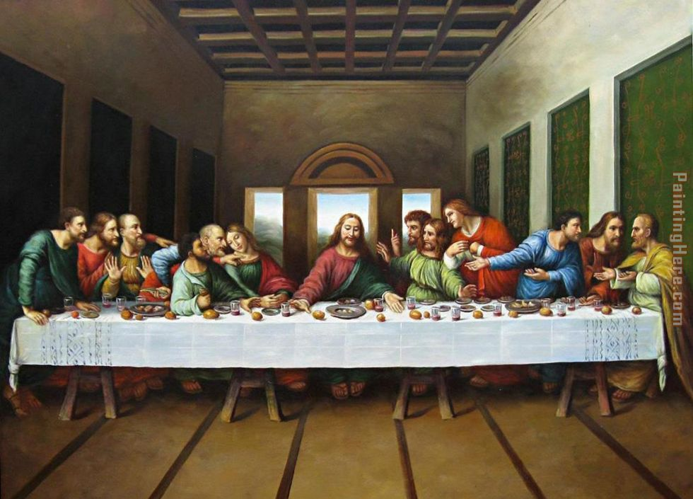 original picture of the last supper painting - Leonardo da Vinci original picture of the last supper art painting