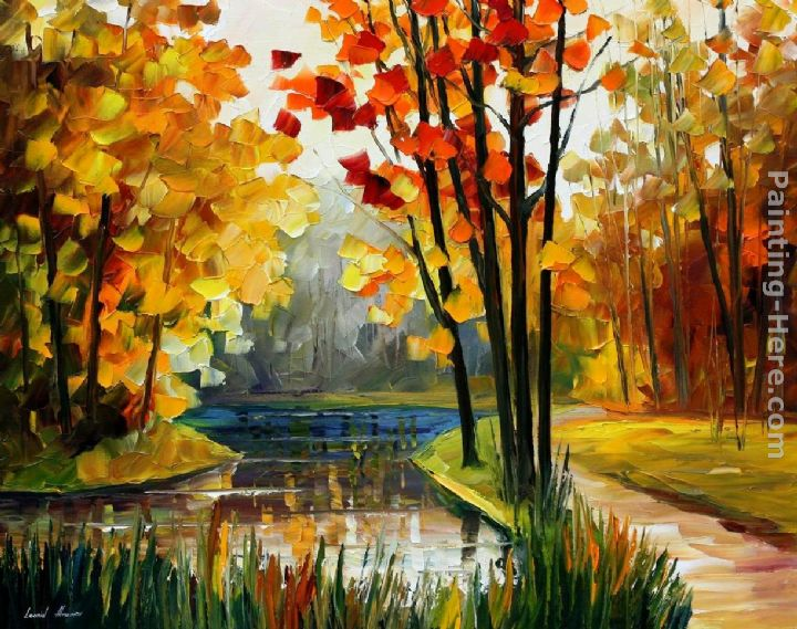FOREST STREAM painting - Leonid Afremov FOREST STREAM art painting