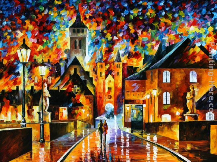 NIGHT IN THE OLD CITY painting - Leonid Afremov NIGHT IN THE OLD CITY art painting