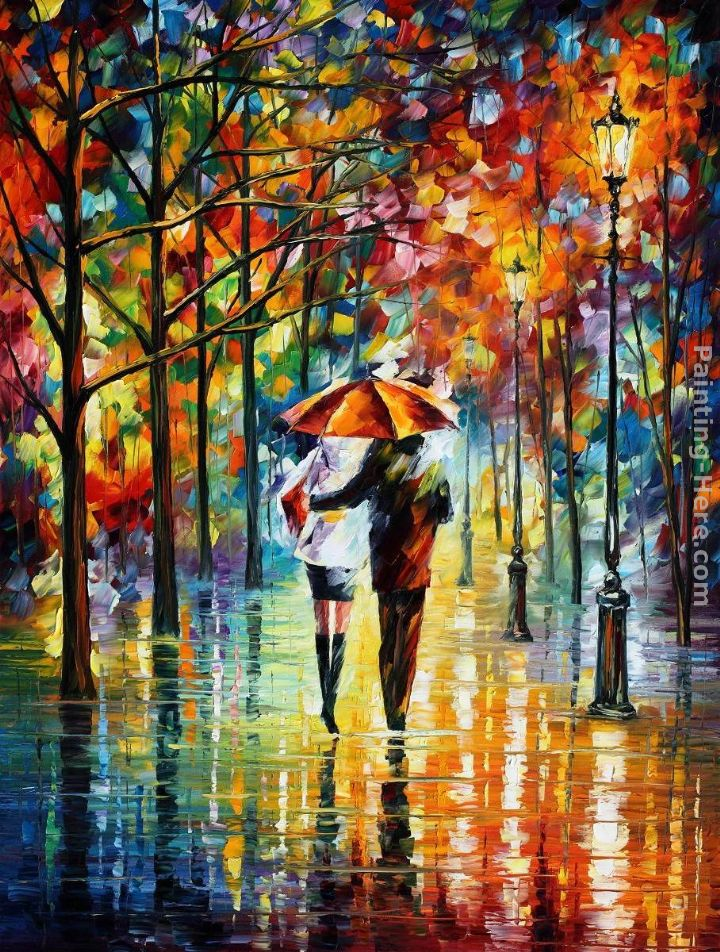 Leonid Afremov UNDER THE RED UMBRELLA painting anysize 50% ...