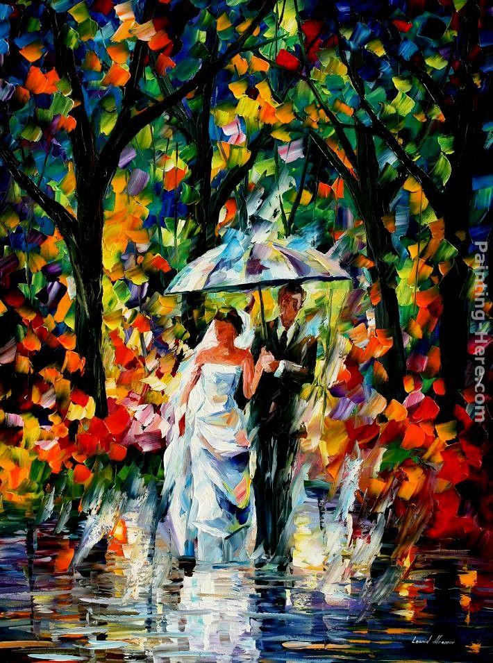 wedding under the rain painting leonid afremov wedding under the rain art painting