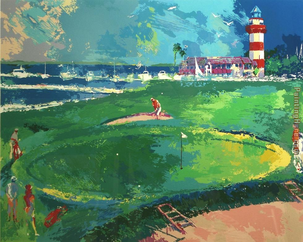 18th at Harbourtown painting - Leroy Neiman 18th at Harbourtown art painting