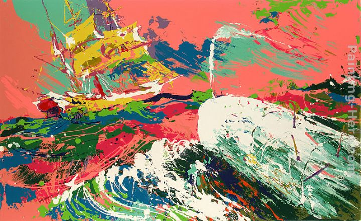Moby Dick Assaulting the Pequod Moby Dick Suite painting - Leroy Neiman Moby Dick Assaulting the Pequod Moby Dick Suite art painting