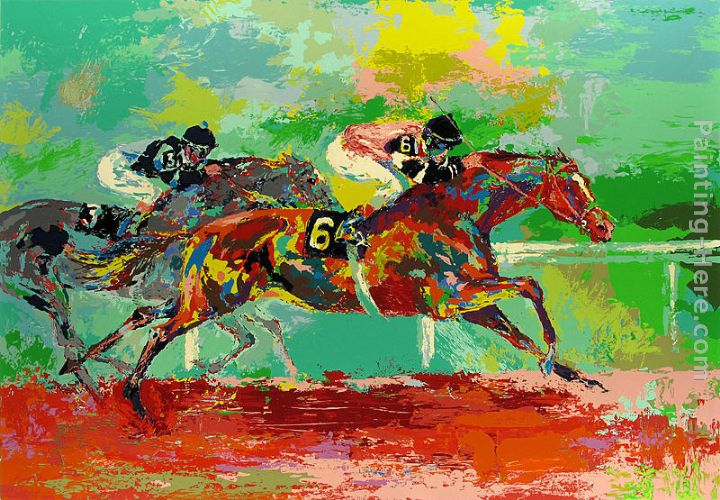 Leroy Neiman Race of the Year (Affirmed and Spectacular Bid) Art Painting