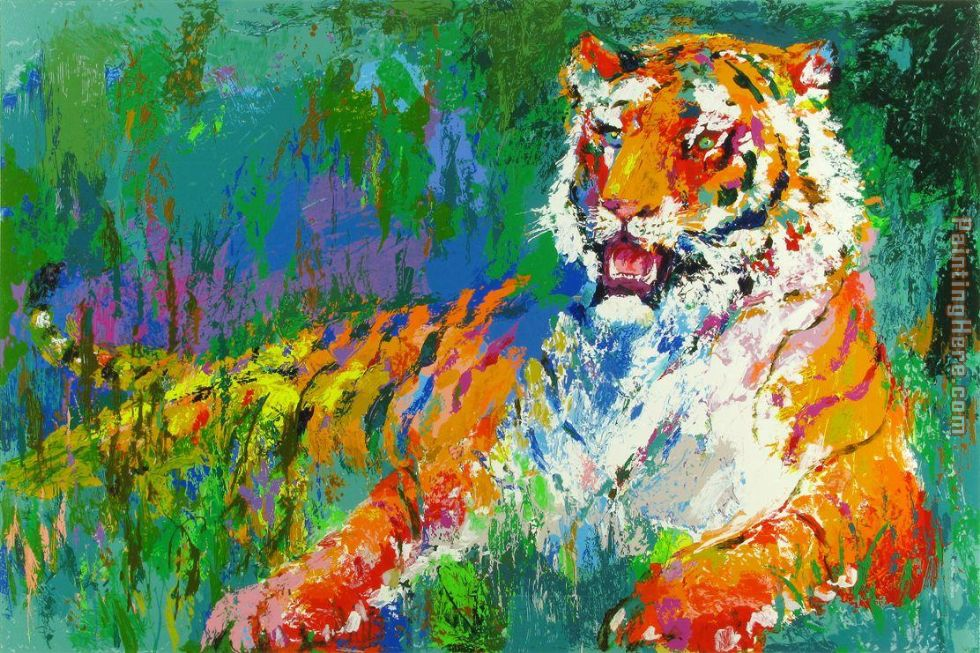 Resting Tiger painting - Leroy Neiman Resting Tiger art painting