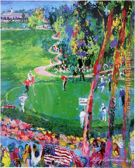 Ryder Cup detail painting - Leroy Neiman Ryder Cup detail art painting