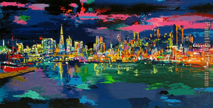 San francisco Evening painting - Leroy Neiman San francisco Evening art painting