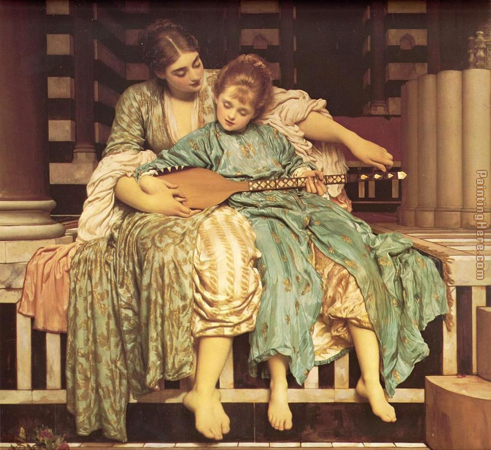 Leighton Music Lesson painting - Lord Frederick Leighton Leighton Music Lesson art painting