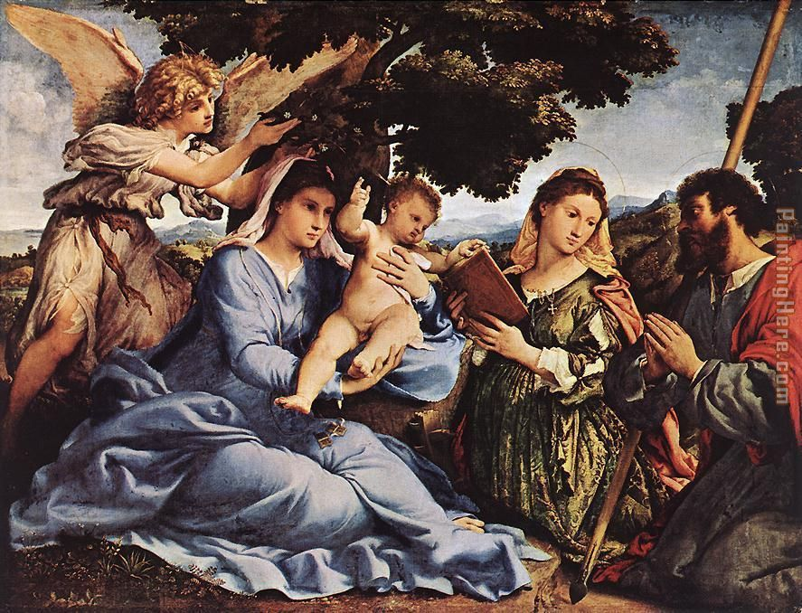 Madonna and Child with Saints and an Angel painting - Lorenzo Lotto Madonna and Child with Saints and an Angel art painting