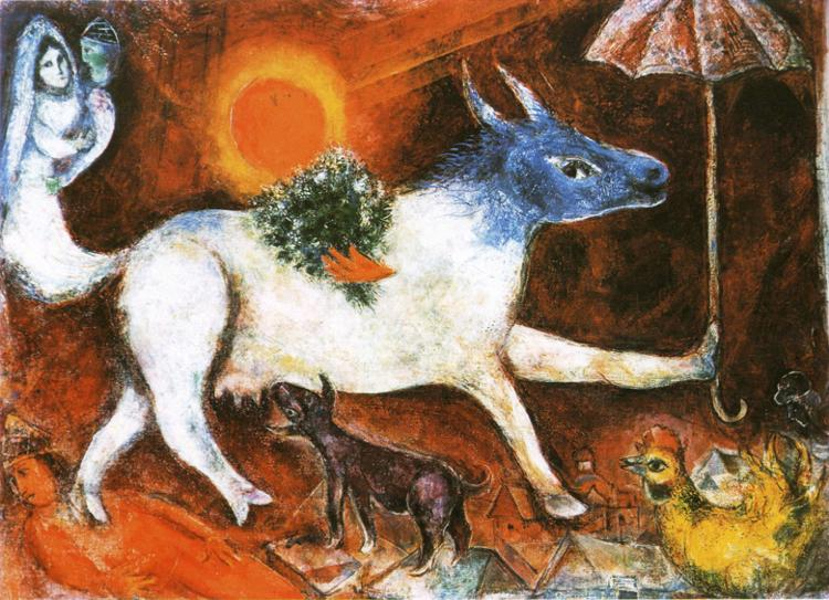 Cow with Parasol painting - Marc Chagall Cow with Parasol art painting