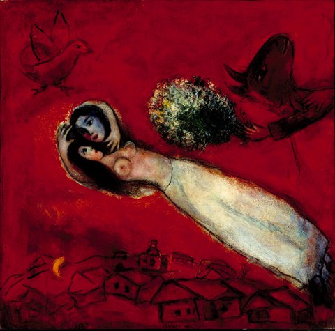 lovers in the red sky painting - Marc Chagall lovers in the red sky art painting
