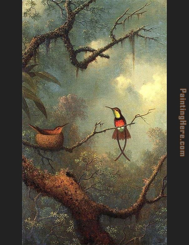 Hummingbirds 1870 painting - Martin Johnson Heade Hummingbirds 1870 art painting