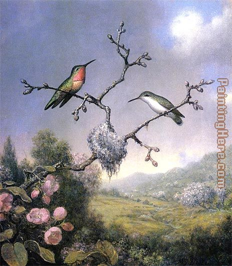 Hummingbirds and Apple Blossoms painting - Martin Johnson Heade Hummingbirds and Apple Blossoms art painting