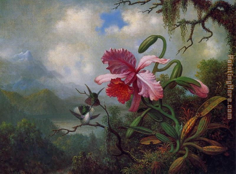 Martin Johnson Heade Orchid and Hummingbirds near a Mountain Lake Art Painting