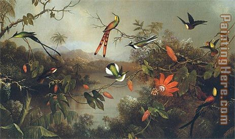 Tropical Landscape with Ten Hummingbirds 1870