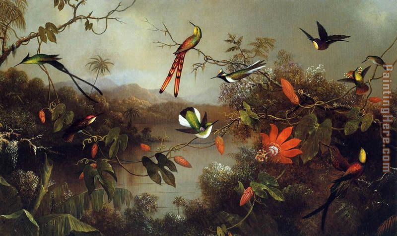 Martin Johnson Heade Tropical Landscape with Ten Hummingbirds Art Painting
