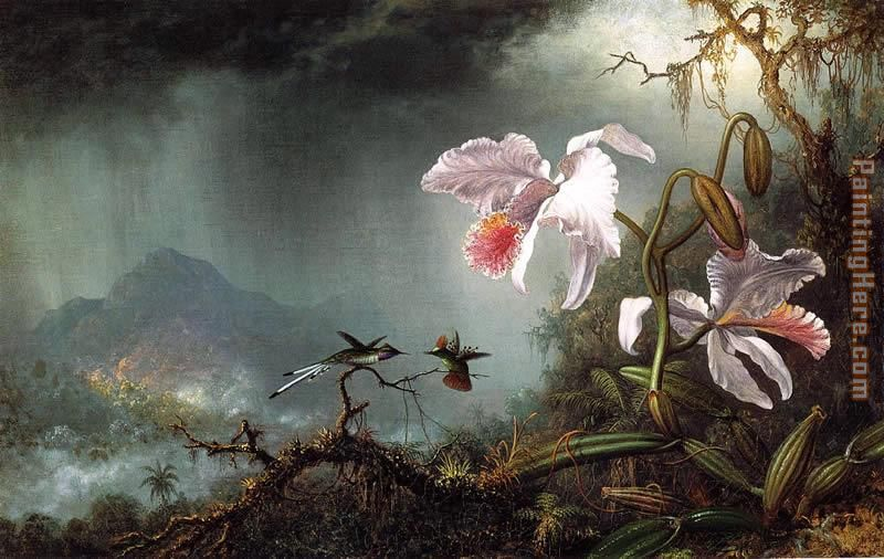 Two Fighting Hummingbirds with Two Orchids painting - Martin Johnson Heade Two Fighting Hummingbirds with Two Orchids art painting