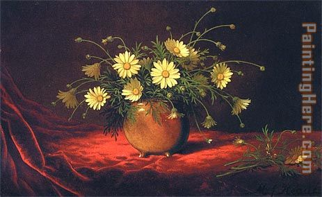 Yellow Daisies in a Bowl painting - Martin Johnson Heade Yellow Daisies in a Bowl art painting
