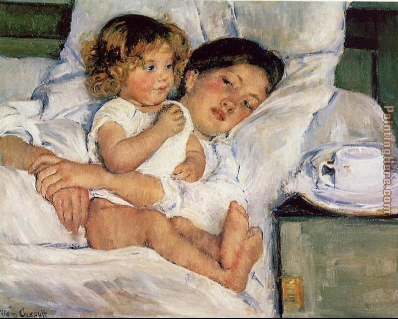 Mary Cassatt Breakfast in Bed Art Painting