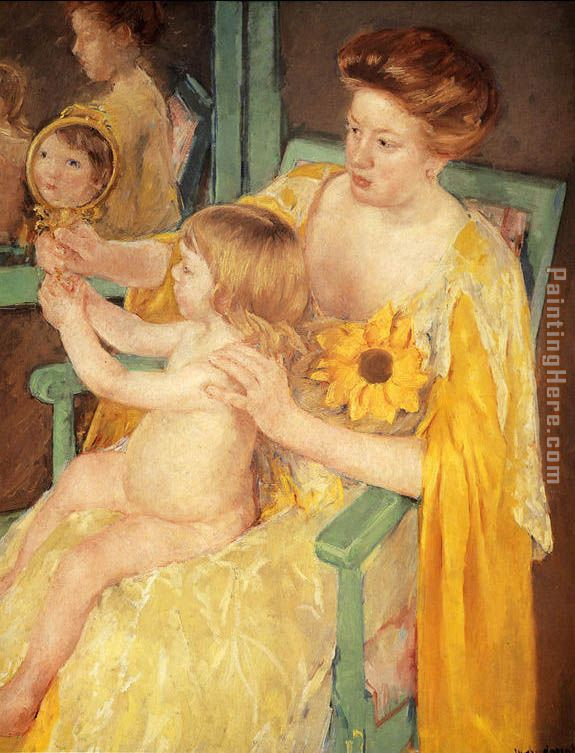 Mother Wearing A Sunflower On Her Dress painting - Mary Cassatt Mother Wearing A Sunflower On Her Dress art painting