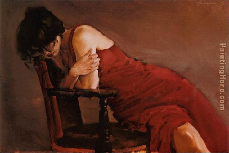 Michael Austin Red Dress Painting Anysize 50 Off Red Dress Painting For Sale