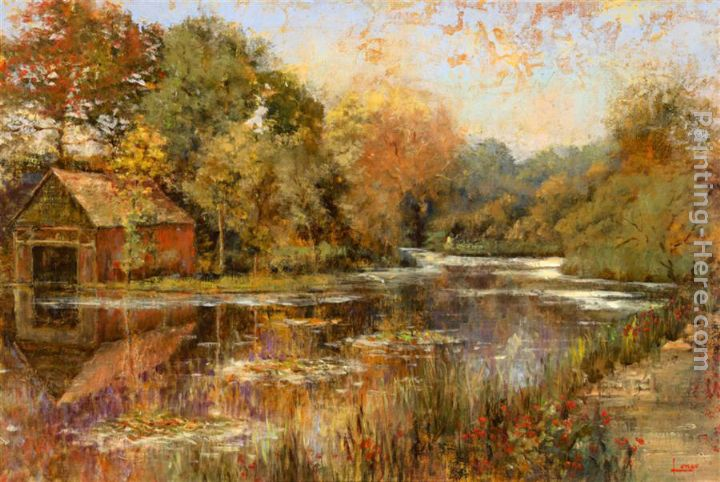 Autumnal Reflections painting - Michael Longo Autumnal Reflections art painting