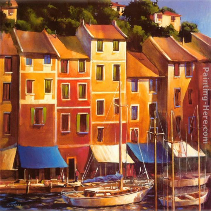 Portofino Waterfront painting - Michael O'Toole Portofino Waterfront art painting