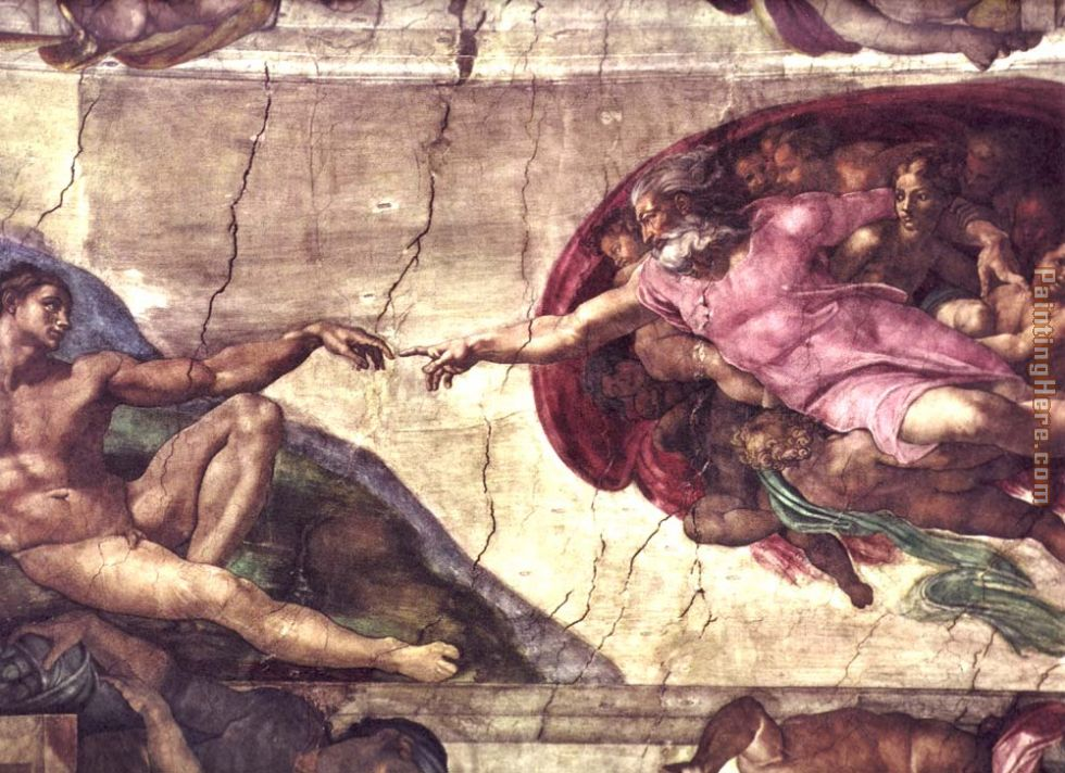 Creation of Adam detail painting - Michelangelo Buonarroti Creation of Adam detail art painting