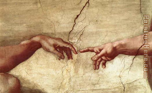 Creation of Adam hand painting - Michelangelo Buonarroti Creation of Adam hand art painting