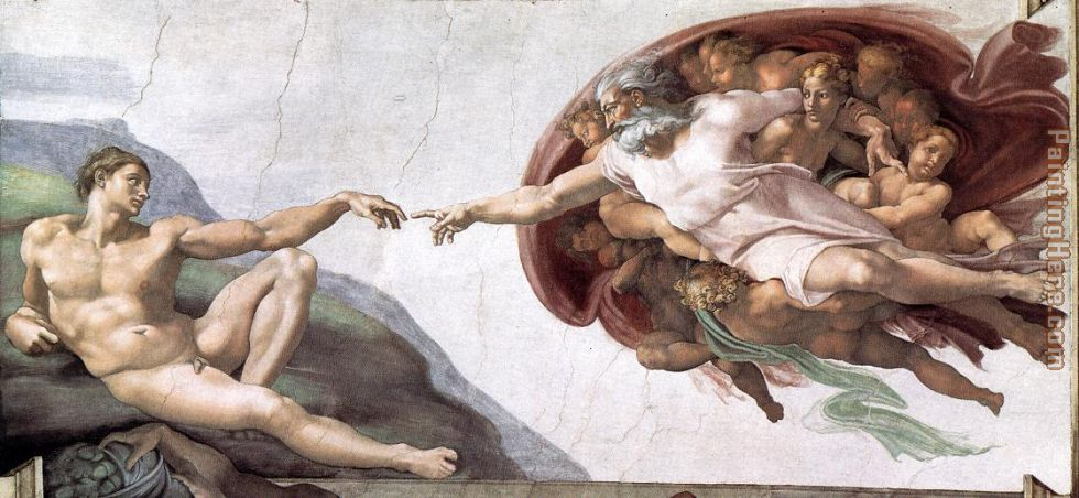 Creation of Adam painting - Michelangelo Buonarroti Creation of Adam art painting