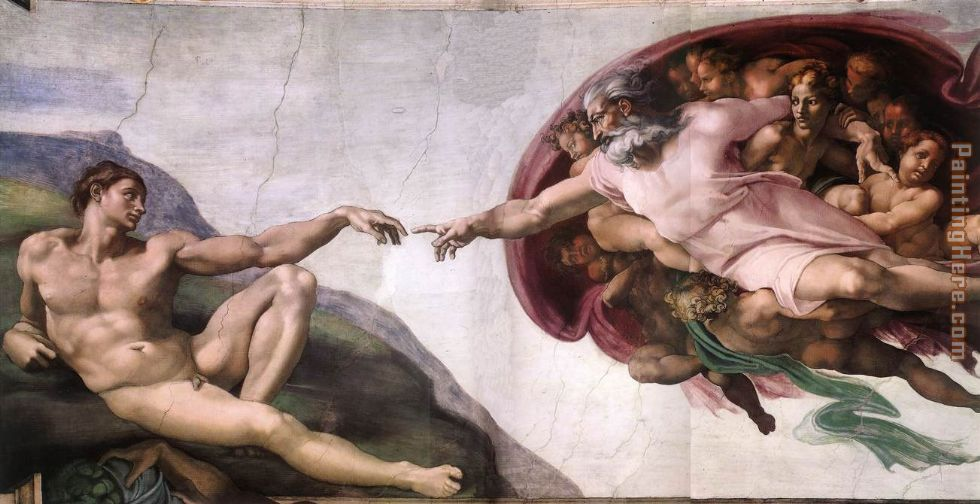 Michelangelo The Creation of Adam Painting anysize 50% Off