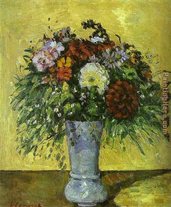 Flowers in a Blue Vase painting - Paul Cezanne Flowers in a Blue Vase art painting