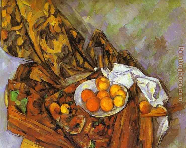 Curtains Ideas curtain paintings : Paul Cezanne Still Life with Flower Curtain and Fruit painting ...