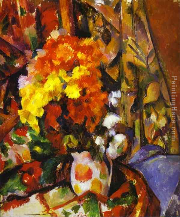 Vase with Flowers painting - Paul Cezanne Vase with Flowers art painting