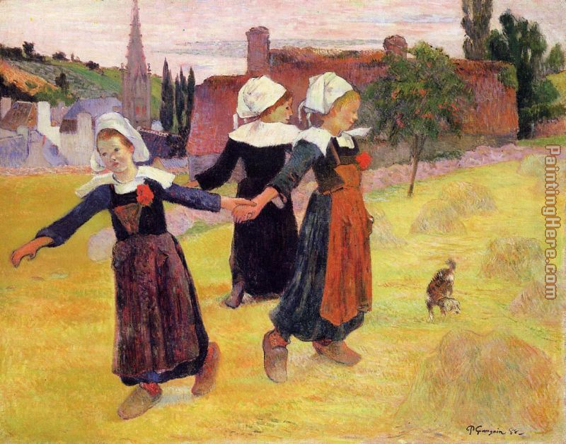 Breton Girls Dancing painting - Paul Gauguin Breton Girls Dancing art painting