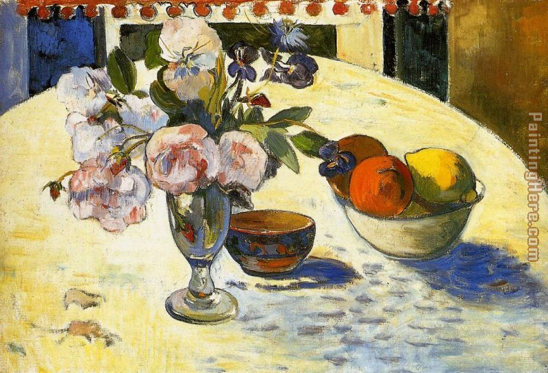 Paul Gauguin Flowers in a Fruit Bowl Art Painting