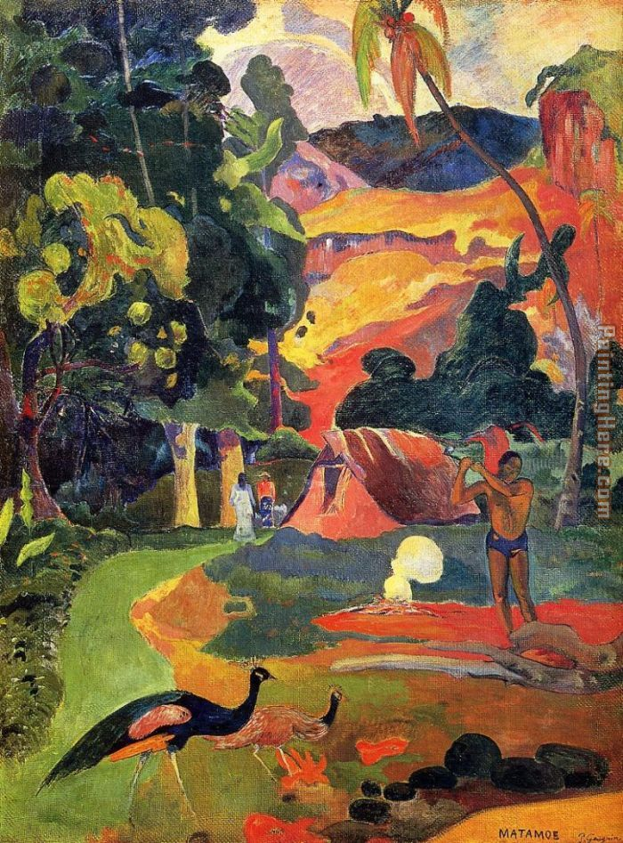 Landscape with Peacocks painting - Paul Gauguin Landscape with Peacocks art painting