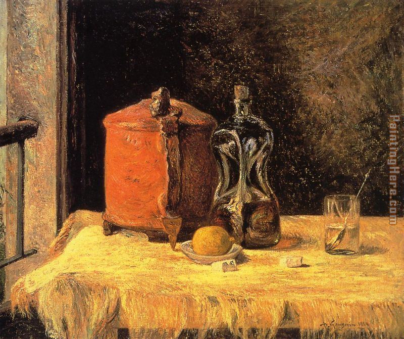 Paul Gauguin Still Life with Mig and Carafe Art Painting