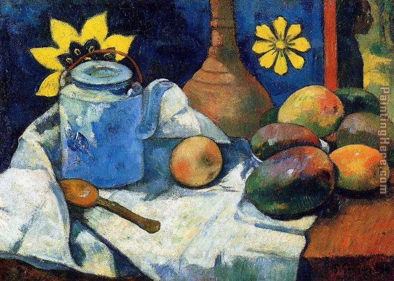 Still Life with Teapot and Fruit painting - Paul Gauguin Still Life with Teapot and Fruit art painting